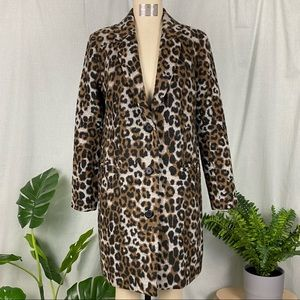 (O-162) Wool Leopard Print Fitted Coat
